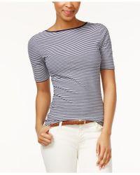 American Living - Striped Boat-neck Crisscross Back Top - Lyst