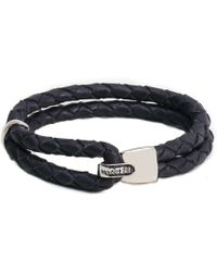 Miansai Woven Gray Leather Beacon Bracelet With Silver Clasp - Lyst