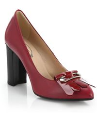 Tod's Gomma Safety-Pin Patent Leather-Fringed Pumps - Lyst