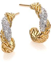 John Hardy Classic Chain Diamond & 18K Yellow Gold Flat Twisted Huggie Hoop Earrings/0.3 - Lyst