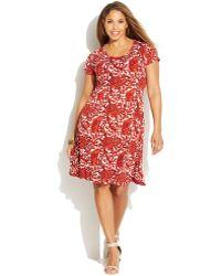 Michael Kors Michael Plus Size Short-Sleeve Printed A-Line Dress - Lyst