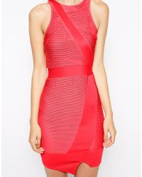 AX Paris Wrap Bodycon Dress With Ripple Panels - Lyst