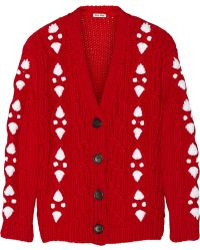 Miu Miu Cable-knit Wool Cardigan - Lyst