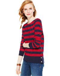 Tommy Hilfiger Striped Button-trim Sweater - Lyst