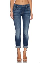 7 For All Mankind Ankle Skinny Cropped Mid-rise Stretch-denim Jeans - Lyst