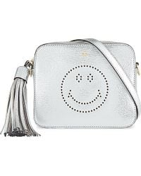 Anya Hindmarch Smiley Metallic Leather Crossbody Bag - For Women silver - Lyst