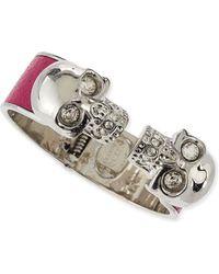 Alexander McQueen Leather Double Skull Cuff Bracelet - Lyst