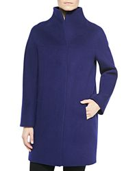 Elie Tahari Dalia Long Coat With Stand Collar - Lyst