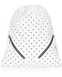 Topshop Womens Perforated Leather Drawstring White - Lyst