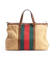 Gucci Camel Leather Trimmed Canvas Web Stripe Convertible Tote Bag - Lyst