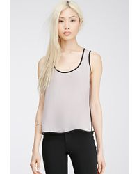 Forever 21 Contrast-Trimmed Chiffon Top - Lyst