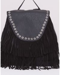 Pull&Bear Fringed Backpack With Studded Flap - Lyst
