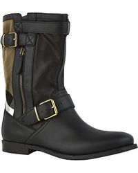 Burberry Check Detail Grantville Boots - Lyst