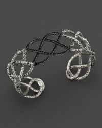 John Hardy Classic Chain Silver Lava Braided Cuff with Black Sapphire Bloomingdales Exclusive - Lyst