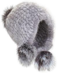 Jocelyn   Knitted Mink Fur Hat W/pom-poms   Lyst