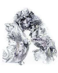Black.co.uk Black And White Tiger Print Silk Chiffon Scarf - Lyst
