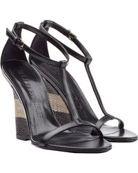 Burberry Sidworth Leather And Raffia Wedges black - Lyst