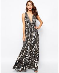 Forever Unique Plunge Neck Maxi Dress In Print - Lyst