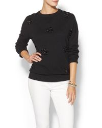 Kate Spade Embellished Slouchy Fluffy Wool Sweater - Lyst