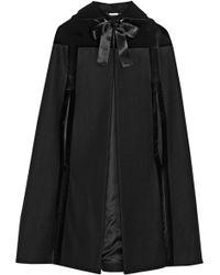 Alexander McQueen Hooded Velvet-trimmed Wool Cape - Lyst