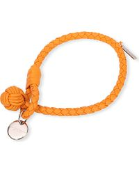Bottega Veneta Woven Nappa Bracelet - For Women orange - Lyst