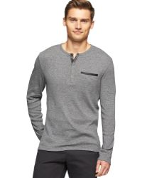 Calvin Klein Chest Pocket Ribbed Slim-fit Henley - Lyst