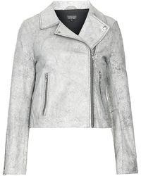 Topshop Crackle Boxy Leather Biker Jacket - Lyst