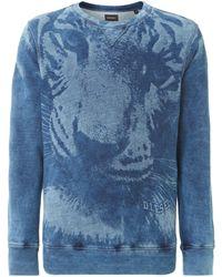 Diesel Large Tiger Print Crew Neck Sweatshirt - Lyst