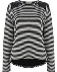 Oasis Stripe Faux Leather Patch Crop Tee - Lyst