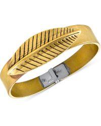 Tru. - Gold-tone Wide Leaf Cuff Bracelet - Lyst