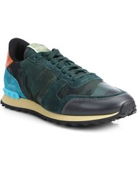 Valentino Rockrunner Camo Studded Sneakers - Lyst