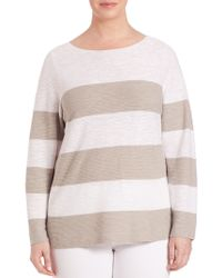 Eileen Fisher | Linen & Cotton Striped Sweater | Lyst