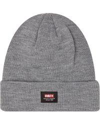 Obey Quality Dissent Beanie Hat Grey - Lyst