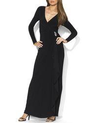 Ralph Lauren Lauren Petites Gown  Ruffle Brooch - Lyst