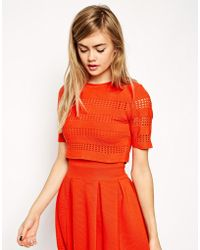 Asos Co-Ord Structured Tee With Cut Out Detail - Lyst