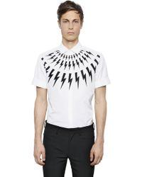 Neil Barrett Flashes Print Cotton Blend Poplin Shirt - Lyst