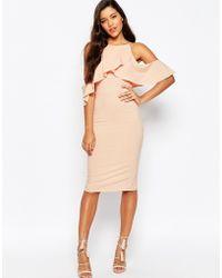 ASOS | High Neck Cold Shoulder Midi Dress | Lyst