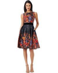 Adrianna Papell Floral Print Pleated A Line Dress - Lyst