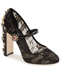 Dolce & Gabbana Lace Mary Jane Pump - Lyst