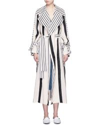 Acne | 'verna' Variegated Stripe Linen Blend Trench Coat | Lyst