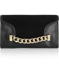 Karl Lagerfeld Kchain Embellished Leather and Suede Clutch - Lyst