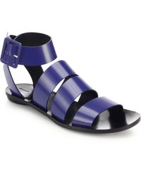 Proenza Schouler Glossed Leather Flat Sandals - Lyst