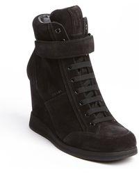 Prada Black Suede Wedge Sneakers - Lyst
