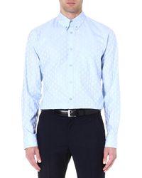 Alexander McQueen Mcq Skull Jacquard Cotton Shirt Blue - Lyst