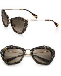 Miu Miu Embellished 55mm Cats-eye Sunglasses - Lyst