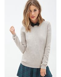 Forever 21 Zippered Crew Neck Sweater - Lyst