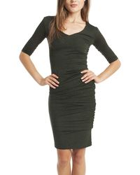 McQ by Alexander McQueen Three Quarter Sleeve Fitted V-Neck Dress - Lyst