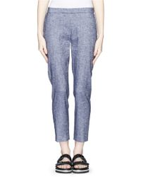 Theory 'Thaniel' Stretch Linen Blend Cropped Pants - Lyst