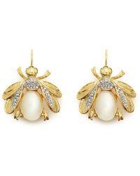 Kenneth Jay Lane Crystal Pavé Faux Pearl Fly Drop Earrings - Lyst