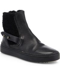 Rag & Bone Farling Leather & Shearling Flat Ankle Boots - Lyst